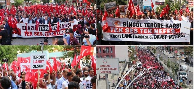 Tunceli, Hakari, Bingöl, Ağrı ve Diyarbakır PKK'ya karşı yürüdü