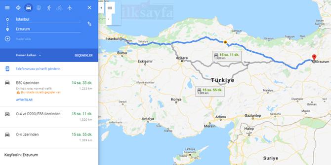 İstanbul Erzurum arası kaç km? İstanbul Erzurum arası kaç saat? İstanbul Erzurum Yol Tarifi, İstanbul Erzurum Otobüs Bileti Fiyatları...