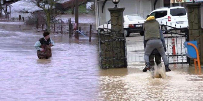Dere taştı, mahalleyi su bastı