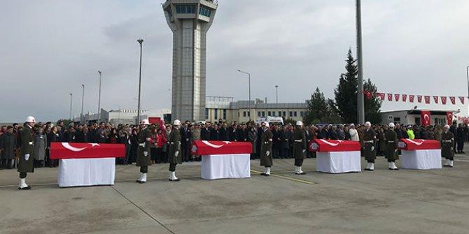 Şehit askerler, törenle memleketlerine uğurlandı