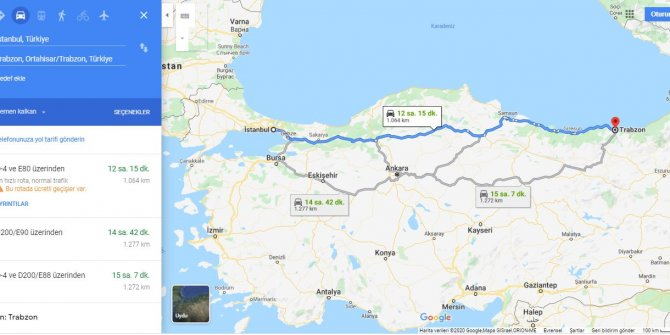 İstanbul Trabzon arası kaç km? İstanbul Trabzon arası kaç saat? İstanbul'dan Trabzon'a nasıl gidilir?