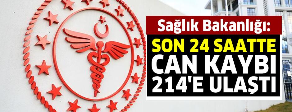 Sağlık Bakanlığı: Son 24 saatte can kaybı 214'e ulaştı.