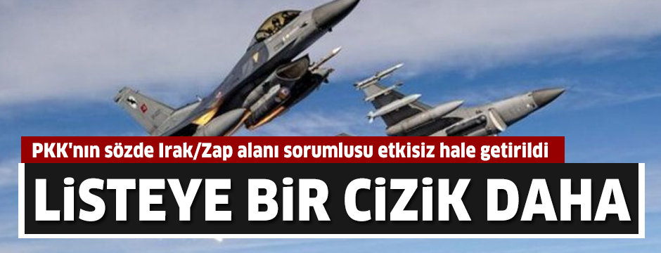 PKK'nın sözde Irak/Zap alanı sorumlusu etkisiz hale getirildi