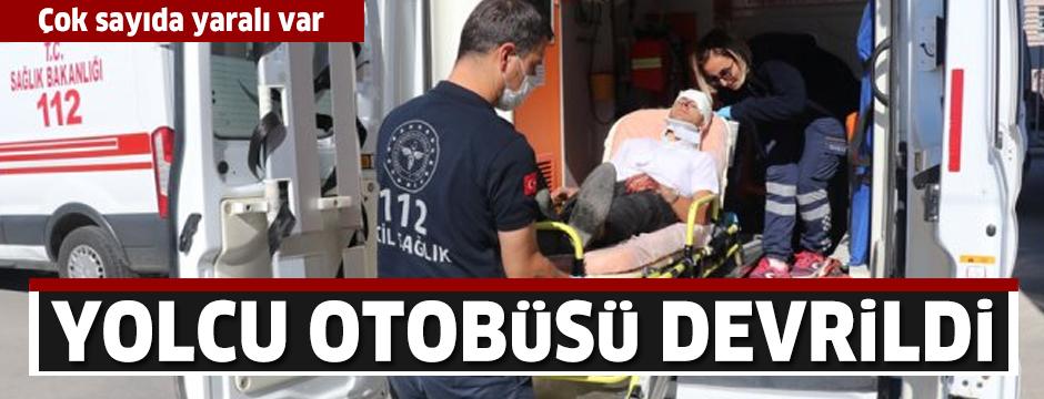 Erzincan'da yolcu otobüsü devrildi: Yaralılar var