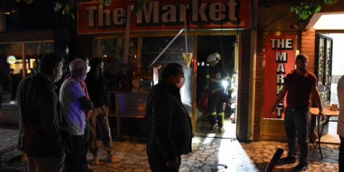 Markette çıkan yangın korkuttu, 6 kişi dumandan etkilendi