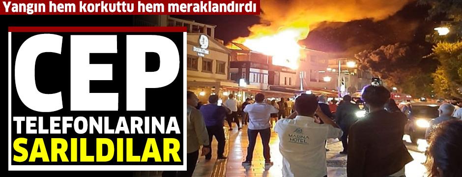 Bodrum'da çıkan yangın korkuttu; toplanan meraklı kalabalık cep telefonlarına sarıldı