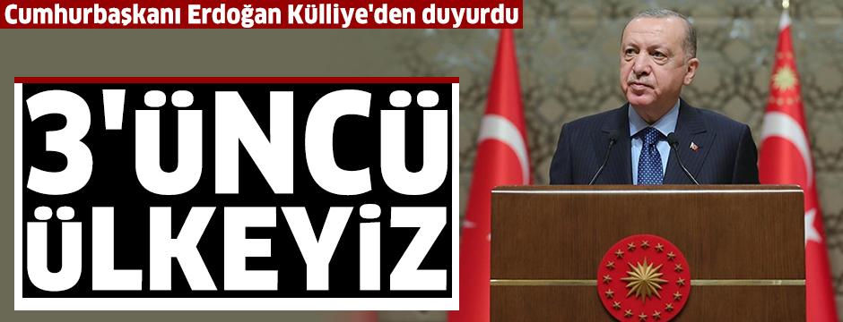 Cumhurbaşkanı Erdoğan: Üç yenilikçi aşı adayımız, faz çalışmalarına başlama arifesindedir