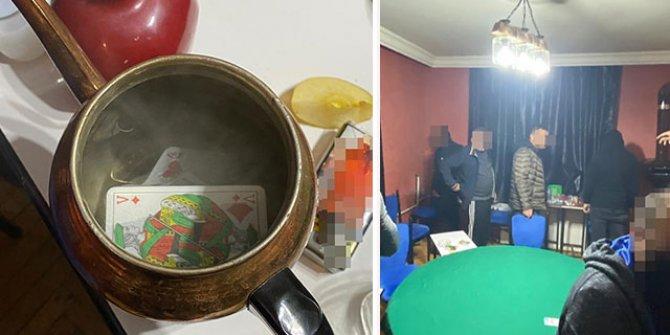 Evde kumara 39 bin TL ceza; çaydanlıktan iskambil kağıtları çıktı