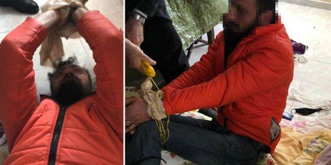 Girdiği villada uyuya kalan hırsızlık şüphelisi, vatandaşlar tarafından bağlanarak, yakalandı