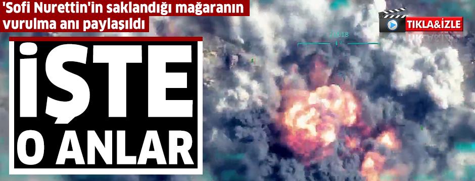 MSB, PKK'nın sözde Suriye genel sorumlusu 'Sofi Nurettin'in saklandığı mağaranın vurulma anına ait görüntüleri paylaştı