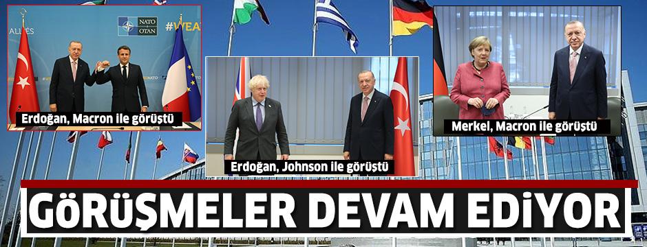 Erdoğan NATO zirvesinde liderler ile görüşüyor