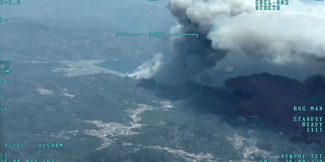 Marmaris'teki yangın söndürme çalışmalarına Mehmetçik desteği