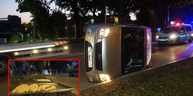 Pastane aracı kazada takla attı