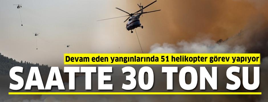 Saatte 30 ton su: Devam eden yangınlarında 51 helikopter görev yapıyor