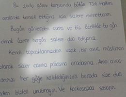 Kahraman Türk Askerine Dua ve Moral Mektupları