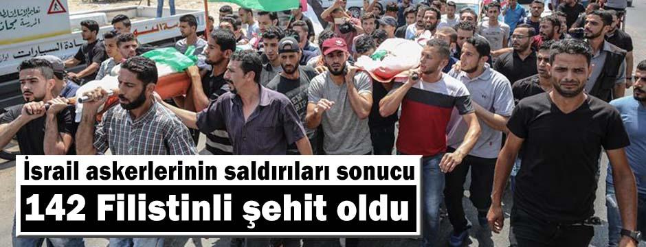 İsrail askerlerinin saldırıları sonucu 18'i çocuk 142 Filistinli şehit oldu