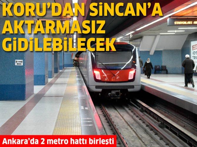 Ankara'da iki ayrı metro hattı birleşti