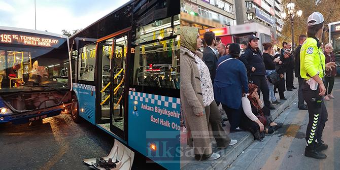 Ankara Kızılay'da korkutan otobüs kazası