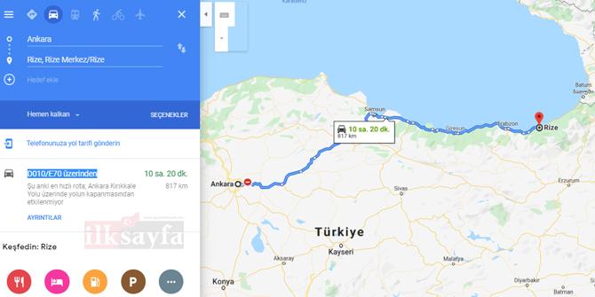 Ankara Rize arası kaç km? Ankara Rize arası kaç saat? Ankara Rize Yol Tarifi, Ankara Rize Otobüs Bileti Fiyatları...