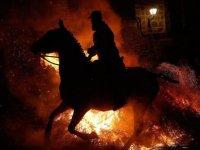 300 yıllık İspanyol geleneği: Atlar ateş üzerinde yürütüldü