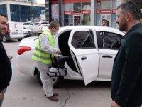 Pursaklar'da araçlar tek tek dezenfekte ediliyor