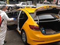 Taksi ve dolmuşlar dezenfekte edildi