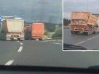 120 km hızla makas atarak ilerleyen hafriyat kamyonu kamerada
