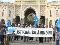 Beyazıt'ta Fransa'da Hz. Muhammed'e hakaret içeren karikatürlerin binalara yansıtılmasına tepki