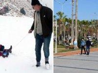 Mersin'de, Toroslar'da kar, sahillerde güneş keyfi