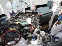 Kopan aks otobüsün ön camından girdi