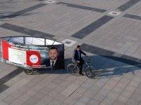 Düzce'de bağımsız adaydan bisikletli seçim çalışması