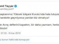 Şamil Tayyar'dan düşündüren Arınç tweeti