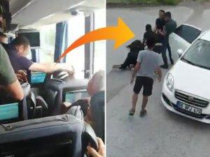 Önünü kestikleri otobüsteki kadını kaçırdılar