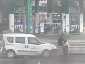 Trafiği durdurup yaşlı kadını yolun karşısına geçirdi