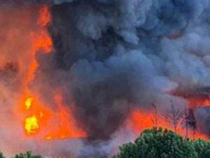 Fabrikadaki patlama anı böyle görüntülendi