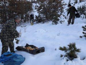 Çubuklu avcılar yabani hayvanlar ve sokak hayvanları için doğaya yem bıraktı
