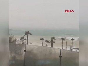 Fırtınada, sahile 60 metre mesafedeki balkonda balık bulundu