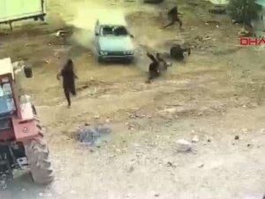 Baba ve üvey kardeşlerin yaralandığı silahlı kavga kamerada