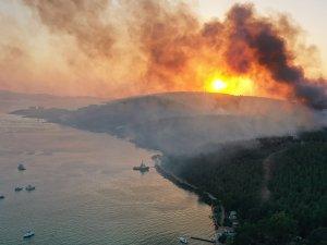 Milas'taki yangında zarar gören ormanlık alanlar havadan görüntülendi