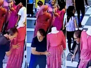 Kırmızı elbiseli cansız manken hırsızlığı kamerada